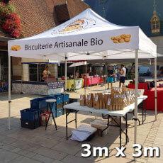 Barnum pliant 3x3m Acier Premium imprimé aux couleurs de la Biscuiterie Artisanale Bio