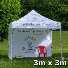 Tente pliante 3x3m Acier Premium personnalisée Association Coup de Pouce