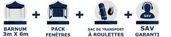 Inclus dans la commande de votre barnum tonnelle tente pliante Acier Semi Pro de 3m x 4,5m avec Pack Fenêtres chez France-Barnums