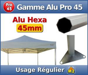 Barnum Aluminium Pro 45 M2 : Usage régulier - Section hexagonale de 45mm - Epaisseur d'aluminium de 2mm - Bâche en 380gr/m² normalisée anti-feu M2 - Garantie de 3 ans