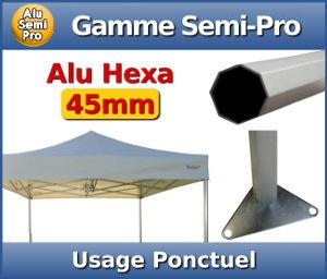 Barnum Aluminium Semi Pro : Usage ponctuel - Section hexagonale de 45mm - Epaisseur d'aluminium de 1,5mm - Bâche en 320gr/m² - Garantie de 2 ans