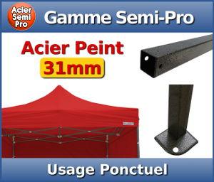 Barnum Acier Semi Pro : Usage ponctuel - Section carrée de 31mm - Epaisseur d'acier de 1,5mm - Bâche de toit 320gr/m² - Garantie de 1 an
