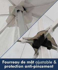 Le faîtage de la bâche de toit de notre tente pliante Acier Premium est équipé d'un fourreau ajustable afin de guider et maintenir la bâche lors du pliage/dépliage de votre structure