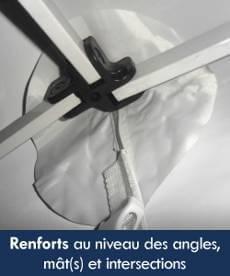 La bâche de toit de notre stand pliant Acier Premium est renforcée au niveau des angles, mât(s) et intersections