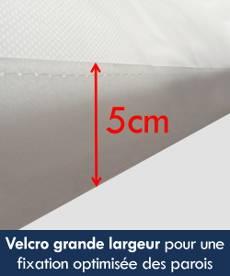 La bâche de toit de nos tentes pliantes Acier Premium est munie d'un velcro de grande largeur (5 cm) pour une fixation optimisée des parois latérales de votre tente