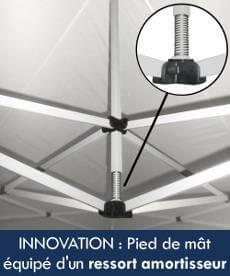 Innovation : notre tente pliante Acier Premium est équipée d'un ressort de pied de mât pour amortir les chocs éventuels et obtenir une meilleure résistance aux intempéries