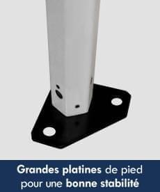 Nos barnums pliants de la Gamme Acier Premium sont équipés de larges platines de pied pour une meilleure stabilité