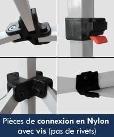 Toutes les pièces de connexion de notre barnum pliant Acier Premium sont en nylon de haute densité et sont montées avec des vis (pas de rivet)