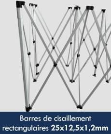 Les barres de cisaillement, croisillons ou ciseaux de notre stand Acier Premium sont de section rectangulaire de 25x12,5x1,2mm