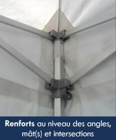 La bâche de notre barnum pliant Alu Pro est équipée de renforts au niveau des angles, des mâts et des intersections