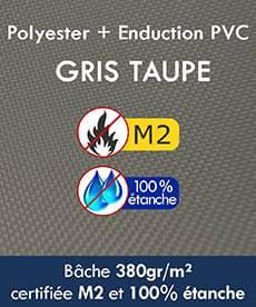 Bâches en Polyester + enduction en PVC 380gr/m² 100% étanches homologuées Norme au feu M2