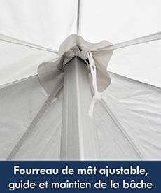 Le faîtage de la bâche de toit de notre tente pliante Alu pro 45 est équipé d'un fourreau ajustable afin de guider et maintenir la bâche lors du pliage/dépliage de votre structure