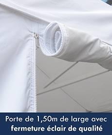 Mur de côté avec une grande porte avec fermeture éclair de qualité et deux bandes de velcro pour maintenir la porte en position ouverte