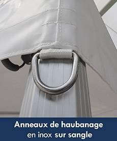 la bâche de toit du barnum possède des anneaux de haubannage renforcé, évite les déchirures
