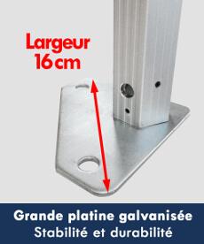Nos barnums pliants de la Gamme Alu Pro 55 sont équipés de larges platines de pied pour une meilleure stabilité