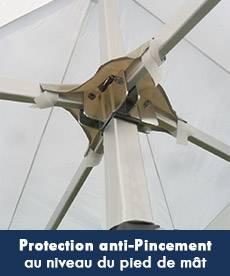 protection anti-pincement au niveau du pied de mât