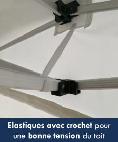 Elastiques avec crochet pour une bonne tension de la bâche de toit
