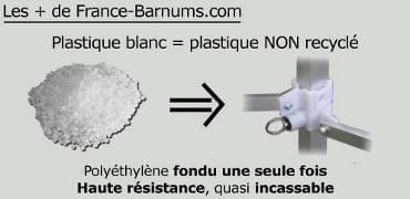Les + france-barnums.com : pièces blanches en plastique NON recyclé de qualité incassable sur la table comptoir france-barnums.com