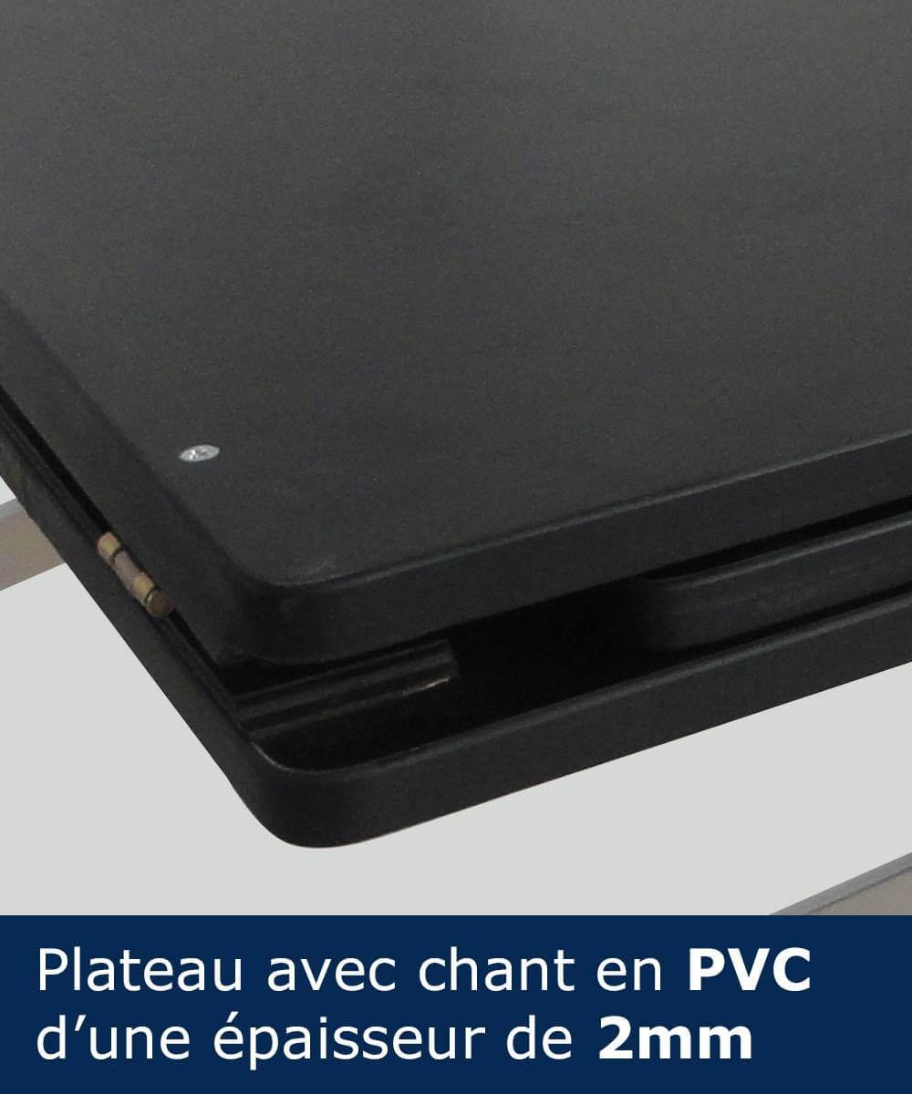 Plateau avec chant en PVC d'une épaisseur de 2mm pour table comptoir pliant