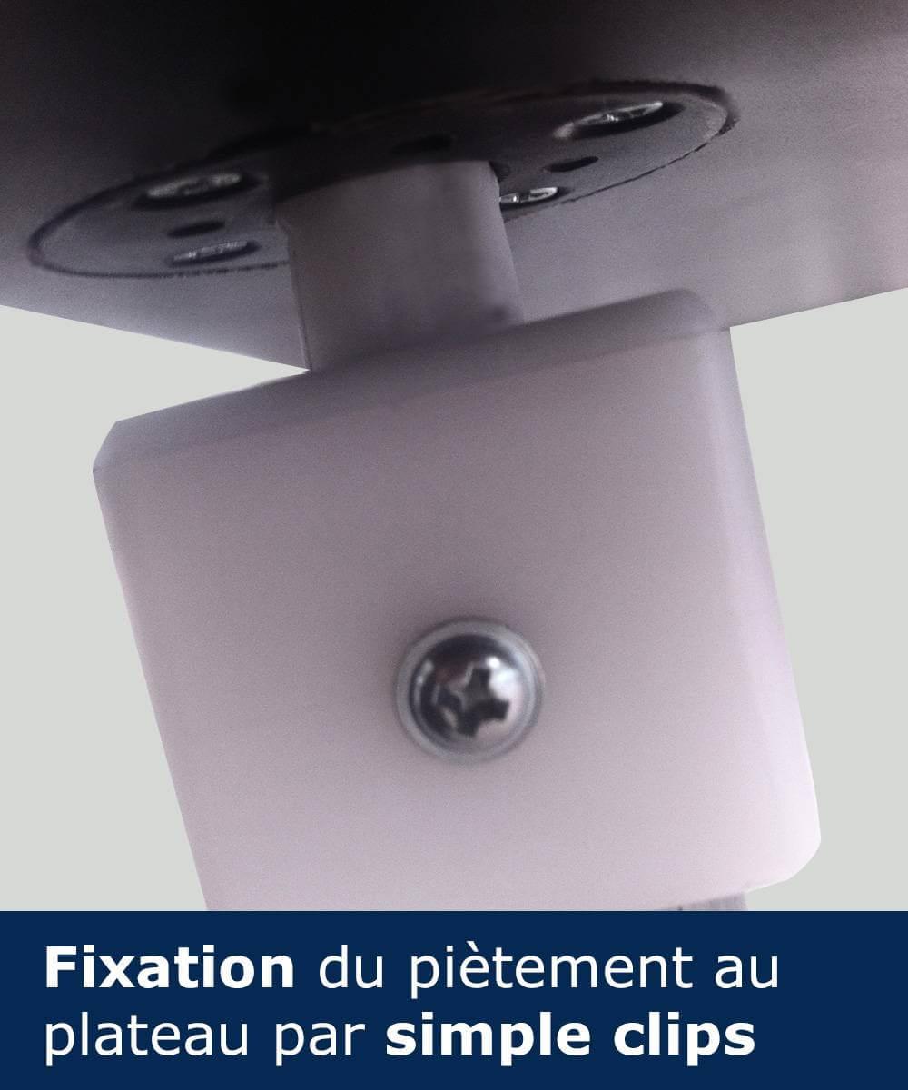 Clipsez le plateau sur la structure pour le maintien du plateau sur le piètement de la table comptoir