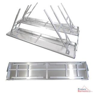 Table présentoir pliant en aluminium pour un minimum d'encombrement