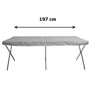 Notre table présentoir pliante - lit de camp en aluminium avec claies mesure 197 cm de long