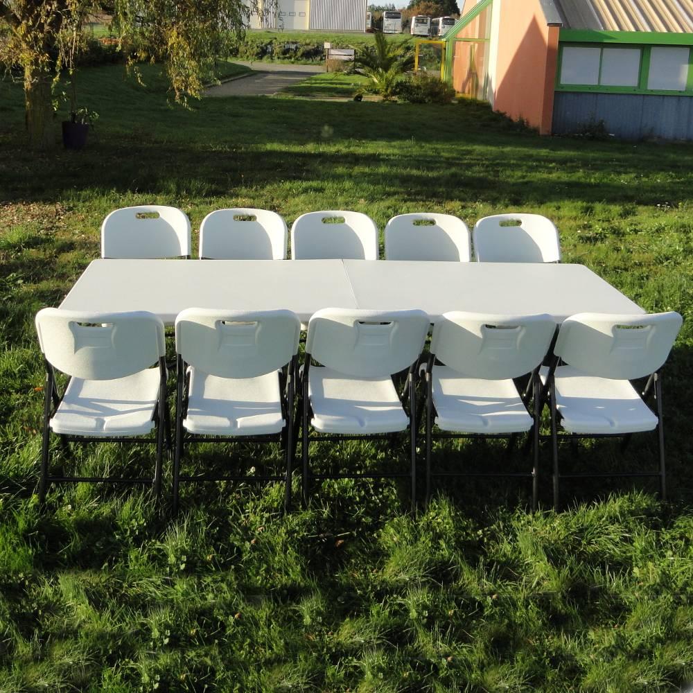 Table de r ception rectangulaire de 244cm pliante en valise for Table valise 6 places
