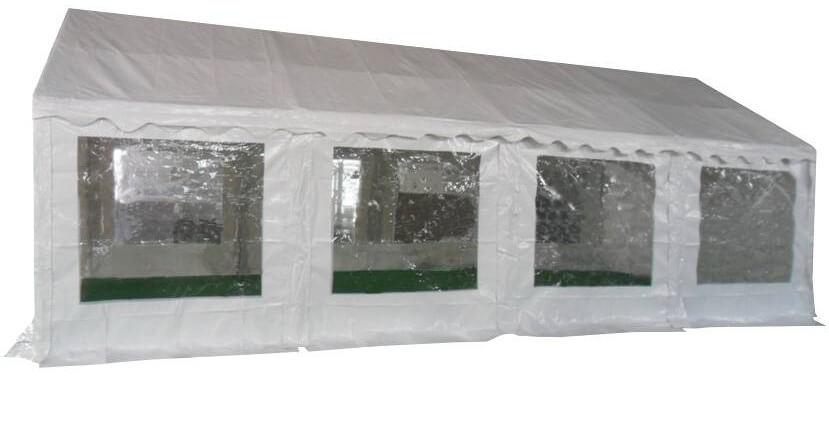Vue latérale de notre tente de réception - chapiteau événementiel de 4m x 8m avec Tubes de 38mm