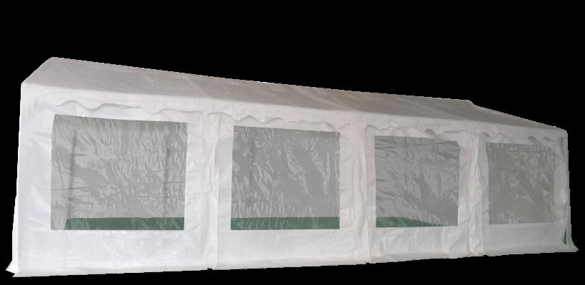Vue de côté de notre chapiteau de réception de 5m x 8m avec structure en acier galvanisé à chaud ø38mm x 1,1mm