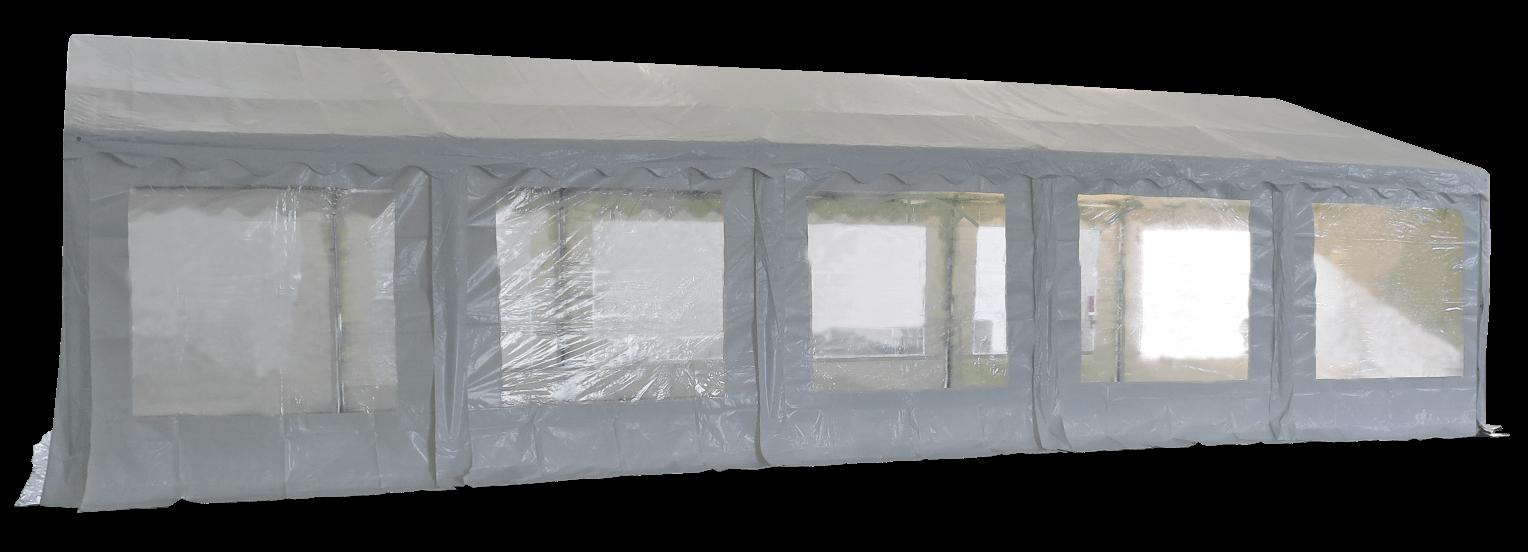 Vue latérale de notre tente de réception - chapiteau événementiel en polyethylene de 5m x 10m avec Tubes de 38mm
