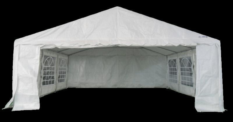Pignon ouvert de notre tente de réception - chapiteau événementiel ECO de 6m x 6m avec Tubes de 38mm