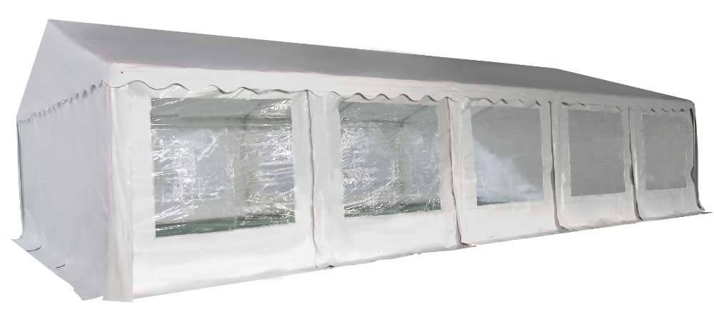 Vue en perspective de notre chapiteau de réception de 6m x 10m avec structure en acier galvanisé à chaud ø38mm x 1,1mm