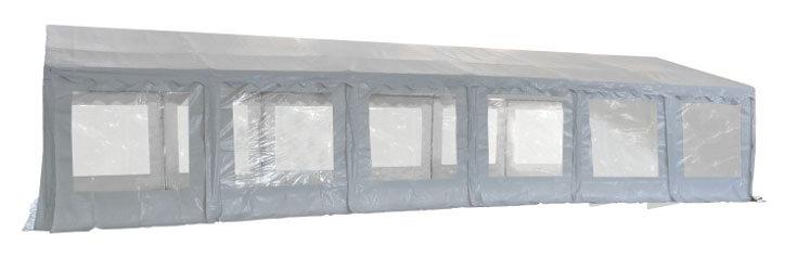 Vue latérale de notre tente de réception - chapiteau événementiel de 6m x 12m avec Tubes de 50mm
