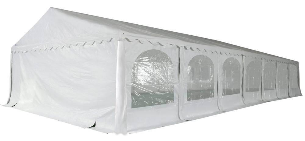 Vue en perspective de notre chapiteau de réception de 7m x 15m avec structure en acier galvanisé à chaud ø50mm x 1,1mm