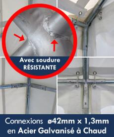 Connexions de nos chapiteaux ø42mm x 1,3mm en Acier Galvanisé à Chaud