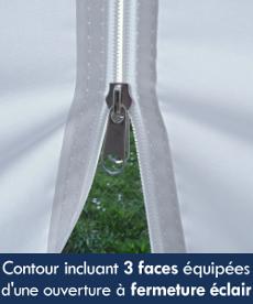 Notre tente de réception octogonale est équipée de 3 faces avec une porte à ouverture centrale à fermeture éclair