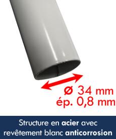 La structure de notre tente octogonale est en acier avec revêtement peinture (poudre) blanche anticorrosion de diamètre 34mm et de 0,8mm d'épaisseur