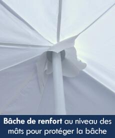 Notre tente de réception octogonale est équipée de renforts au niveau des mâts pour protéger la bâche de toit