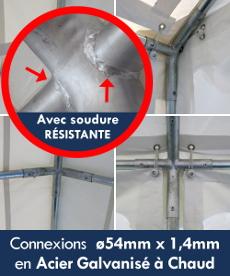 Connexions de nos chapiteaux ø54mm x 1,4mm en Acier Galvanisé à Chaud
