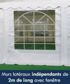 Les murs latéraux de notre tente de réception sont indépendants et mesurent 2m de long. Chaque mur latéral est équipé d'une fenêtre.