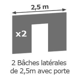 Inclus dans votre colis : Notre Barnum ALU PRO 55 de 5m x 5m est livré avec ses 2 parois de 2,5m avec porte