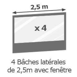 Inclus dans votre colis : Notre Barnum ALU PRO 55 de 5m x 5m est livré avec ses 4 parois de 2,5m avec fenêtre