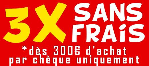 Règlement en 2 ou 3 fois sans frais par chèque sur le site france-barnums.com