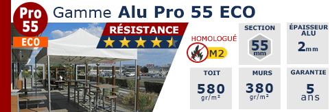 Barnum pliant - Tente pliante Aluminium Pro 55 ECO M2