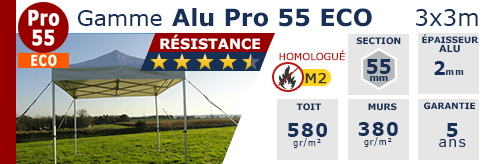 Barnums pliants - Tentes pliantes Alu Pro 55 ECO M2 3m x 3m