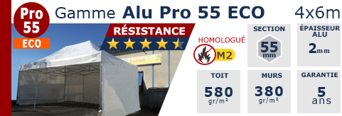 Barnums pliants - Tentes pliantes Alu Pro 55 ECO M2 4m x 6m