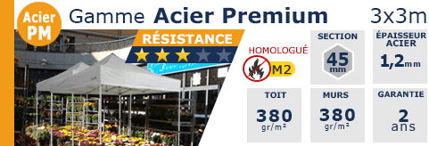 Barnums Pliants - Stands Acier Premium M2 3x3m
