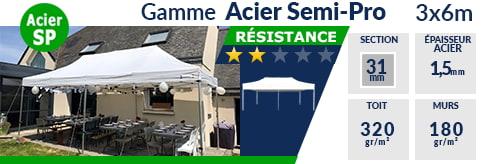 Barnums pliants - Tonnelles Acier Semi Pro 3mx6m