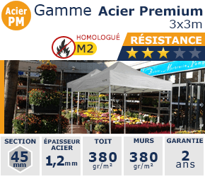 Barnums pliants de 3m x 3m de la Gamme Acier Premium