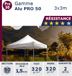 Barnum Pliant - Tente pliante Alu Pro 50 3x3m